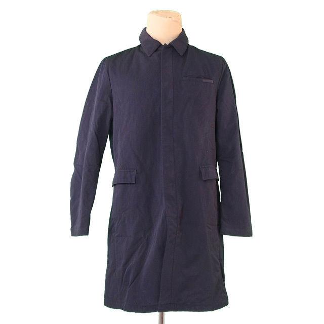 【中古】 プラダ PRADA コート ロング メンズ ♯50サイズ ブラック PE 100%(胸当て)PE 100% 裏地付き T141 .