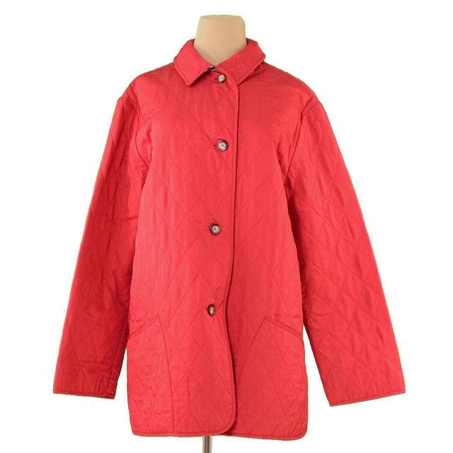 【中古】 バーバリー BURBERRY コート シングルボタン レディース キルティング レッド系 ポリエステル100%(裏地)ポリエステル52%綿48% 良品 T1414