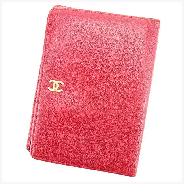 【中古】 シャネル CHANEL 二つ折り財布 財布 パスポートケース レディース ココマーク レッド×ゴールド レザー 人気 T1419 .