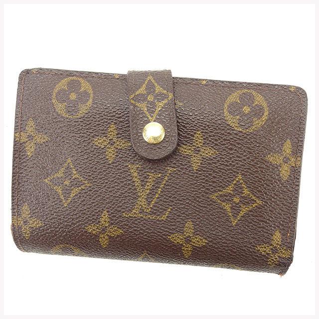 【中古】 ルイ ヴィトン Louis Vuitton がま口財布 二つ折り財布 メンズ可 ポルトモネビエヴィエノワ モノグラム ブラウン モノグラムキャンバス 良品 T1437 .
