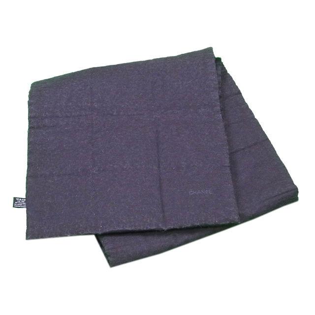 【中古】 シャネル CHANEL マフラー ポケット付き メンズ可 リバーシブル チョコバー グレー×ブラック SILK/48%WOOL/34%ANGORA/18% 良品 T144 .