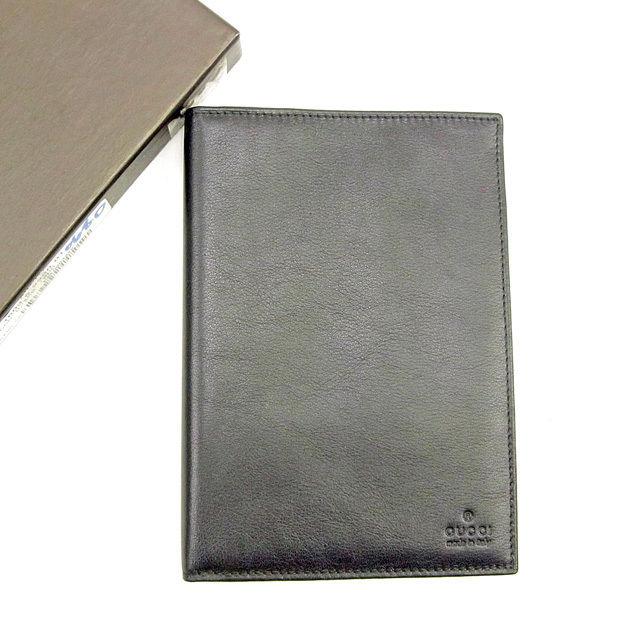 【中古】 グッチ GUCCI パスポートケース メンズ可 ロゴ ブラック レザー 美品 T145 .