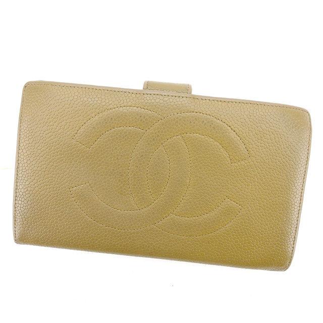 【中古】 シャネル CHANEL 長財布 がま口財布 メンズ可 ココマーク ベージュ×ゴールド キャビアスキン 人気 T1452