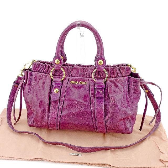 Entering ミュウミュウ miu miu 2WAY shoulder bag handbag Lady s gathers purple X  gold vintage processing leather quality goods sale T1456. 1d5a101ccbbb2