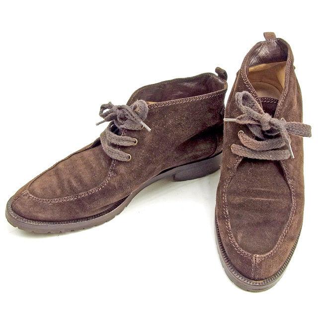 【中古】 シャネル CHANEL ブーツ シューズ 靴 レディース ♯38 ショート丈 ブラウン スエード T150