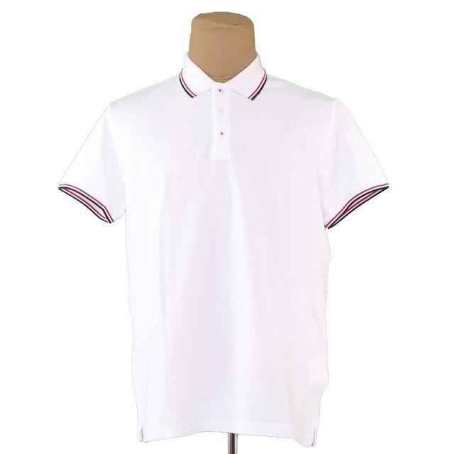 【中古】 モンクレール MONCLER ポロシャツ 半袖 カットソー メンズ ♯XXLサイズ 部分ボーダー ホワイト×レッド×ネイビー コットンC/100% 訳あり 美品 T1528 .