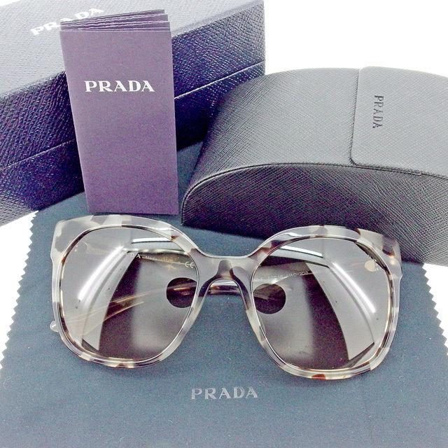 高品質新品 冬 プレゼント サングラス アイウエア その他 レディース 奉呈 メンズ プラダ 中古 T1537 グレー×ブラウン 可 PRADA