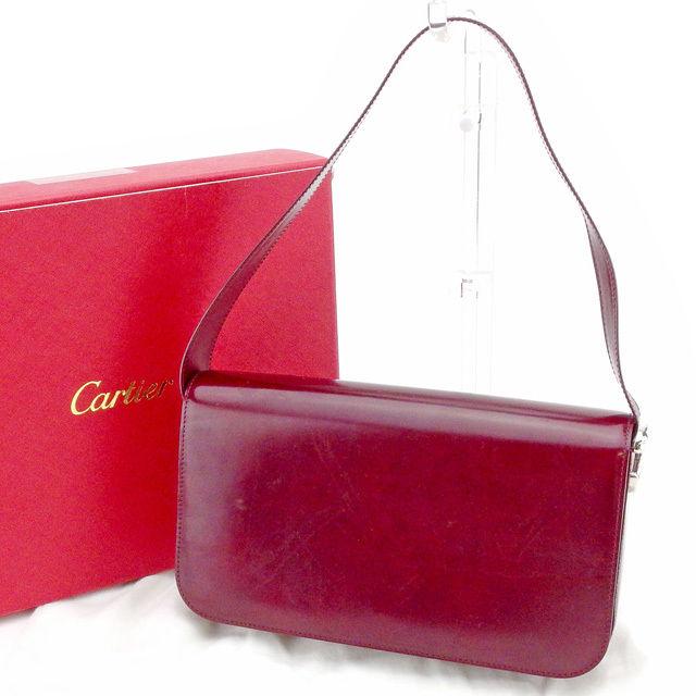 【中古】 カルティエ Cartier ショルダーバッグ ワンショルダー バッグ レディース パンテール ボルドー レザー 人気 T1544
