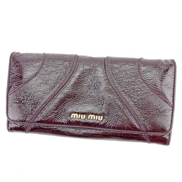 【中古】 ミュウミュウ miu miu 長財布 財布 レディース メンズ 可 ブラウン パテントレザー 人気 T1554s