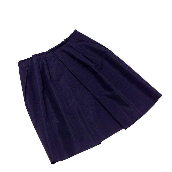 【中古】 プラダ PRADA スカート タック入り レディース ♯42サイズ フレアー ダークネイビー シルク絹55%ポリエステル45% 美品 T1561 .