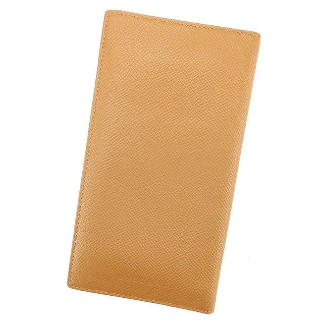 【中古】 ブルガリ BVLGARI 二つ折り札入れ 二つ折り 財布 レディース メンズ 可 ライトブラウン レザー 美品 T1593 .