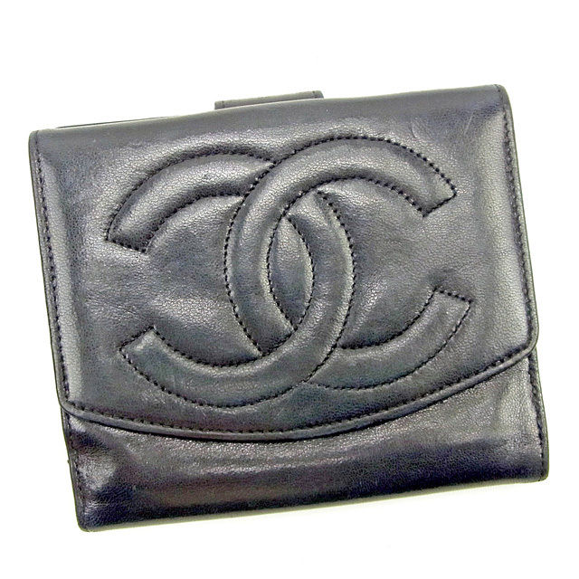 036ff8920c13 【中古】 シャネル CHANEL Wホック財布 二つ折り財布 メンズ可 ココマーク ブラック