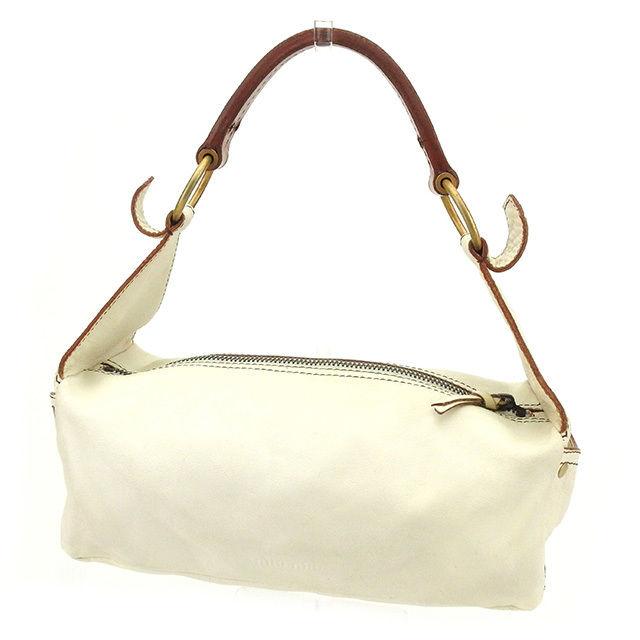 83fa55d7c40a ミュウミュウ miu miu shoulder bag one shoulder bag lady white X brown leather  popularity sale T1636.