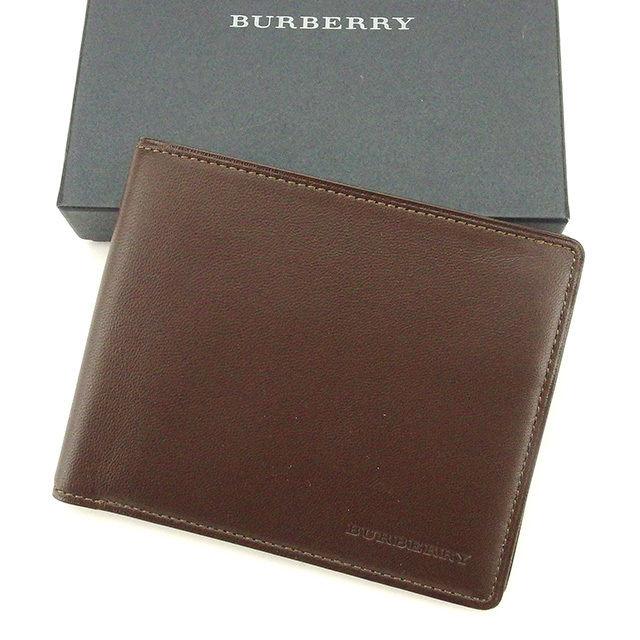 【中古】 バーバリー BURBERRY 二つ折り札入れ 札入れ メンズ ロゴ ブラウン レザー 中古 【未使用】 T1670