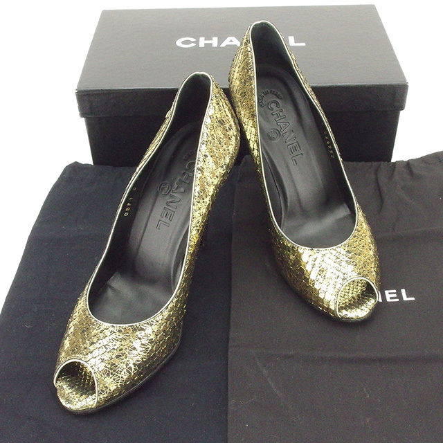【中古】 シャネル CHANEL パンプス シューズ 靴 レディース ♯37C ココマーク オープントゥ ゴールド×ブラック パイソン 美品 T1674 .