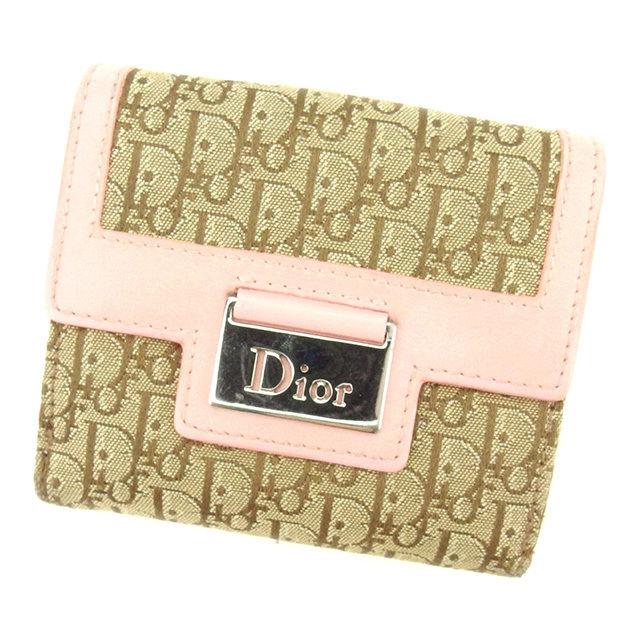 【中古】 ディオール Dior Wホック財布 財布 二つ折り財布 レディース ロゴプレート トロッター ベージュ×ブラウン×ピンク系 キャンバス×レザー 良品 T1712