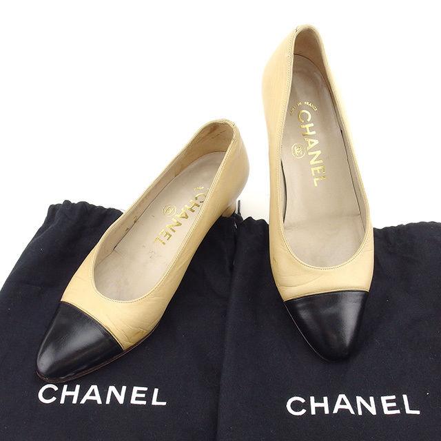 【中古】 シャネル CHANEL パンプス シューズ 靴 レディース ♯35 ラウンドトゥ バイカラー ベージュ×ブラック レザー 人気 T1753 .