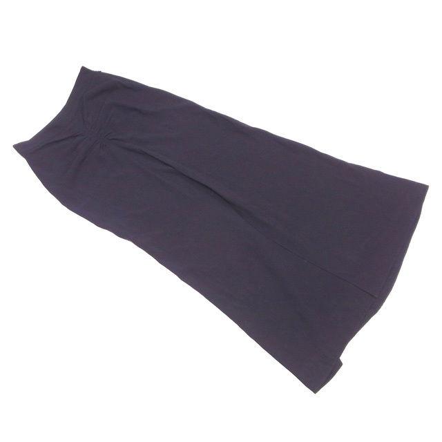 【中古】 ディオール Dior スカート シャーリング 前スリット レディース ♯USA6サイズ ロング ブラック レーヨン54%アセテート46% 人気 T1754