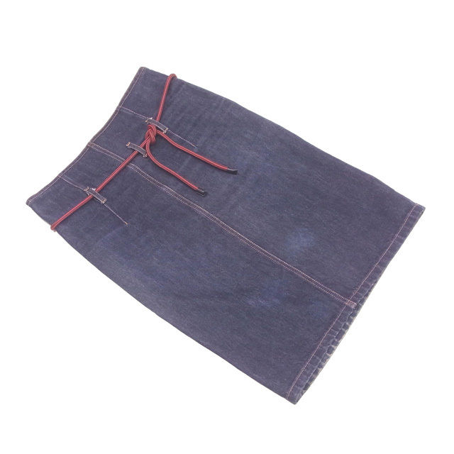 【中古】 グッチ GUCCI スカート タイト レディース ♯42サイズ デニム ネイビー系 綿100% 人気 T1793 .