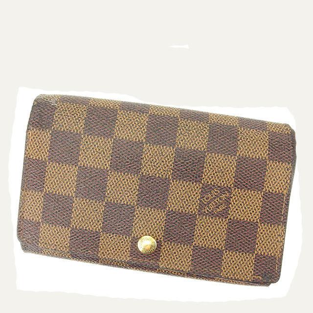 【中古】 ルイ ヴィトン Louis Vuitton L字ファスナー財布 財布 二つ折り財布 メンズ可 ポルトモネビエトレゾール ダミエ エベヌ(ブラウン系) ダミエキャンバス 人気 T1833 .