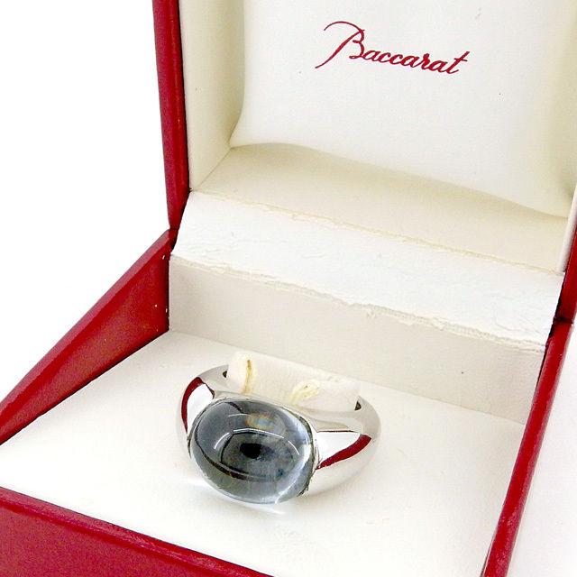 【中古】 バカラ Baccarat 指輪 #12 リング アクセサリー メンズ可 シルバー×クリア 美品 T1842 .