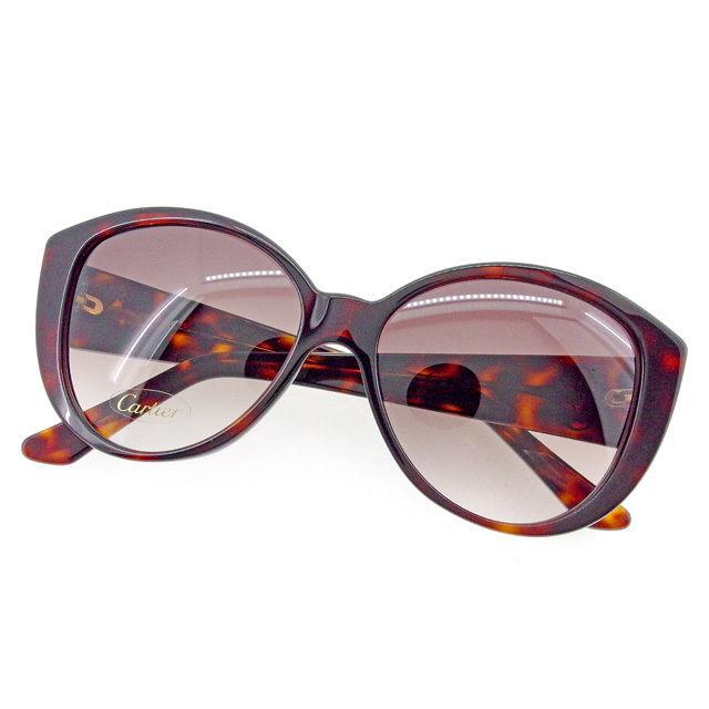 【中古】 カルティエ Cartier サングラス メガネ レディース メンズ 可 2Cマーク べっ甲柄フレーム ブラウン×ゴールド プラスチック×ゴールド金具 美品 T1851