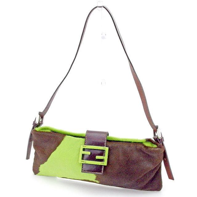 ... italy fendi fendi shoulder bag one shoulder bag lady ff mark green x  brown x silver abbd079178409