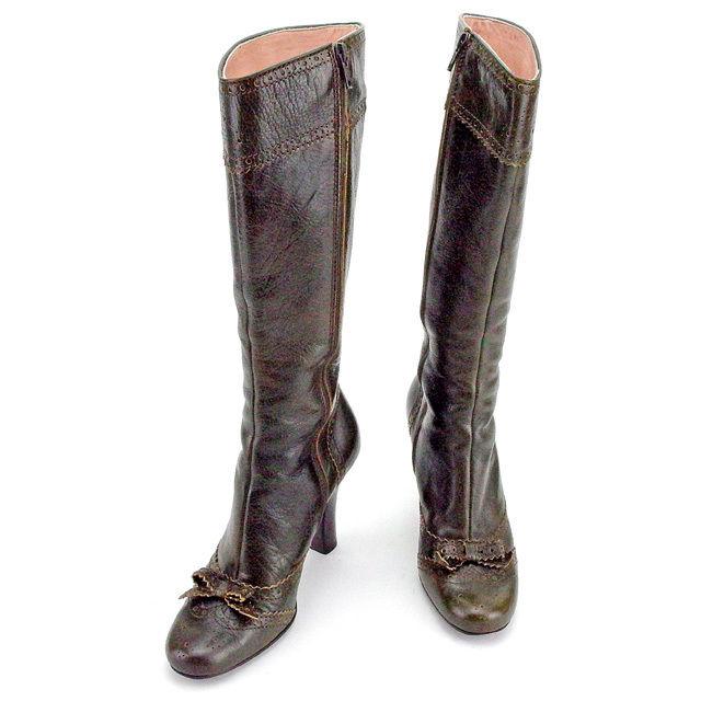 【中古】 ミュウミュウ miu miu ブーツ シューズ 靴 レディース ♯36ハーフ ロング リボン ダークカーキ×ブラウン レザー 良品 T1867