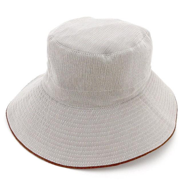 【中古】 エルメス HERMES 帽子 ♯56サイズ レディース メンズ 可 ハット グレー×ブラウン シルク絹100%麻100%(トリミング&裏地)麻100% 良品 T1869