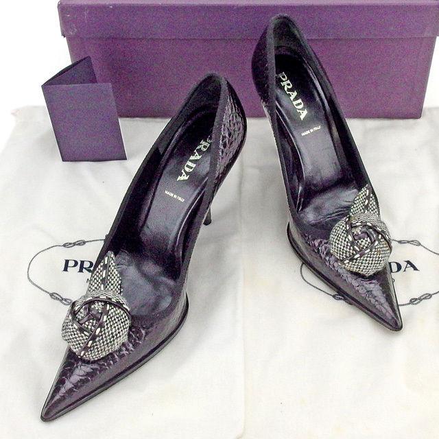 【中古】 プラダ PRADA パンプス シューズ 靴 レディース ♯35 コサージュ付き ブラック×ホワイト レザー T1909