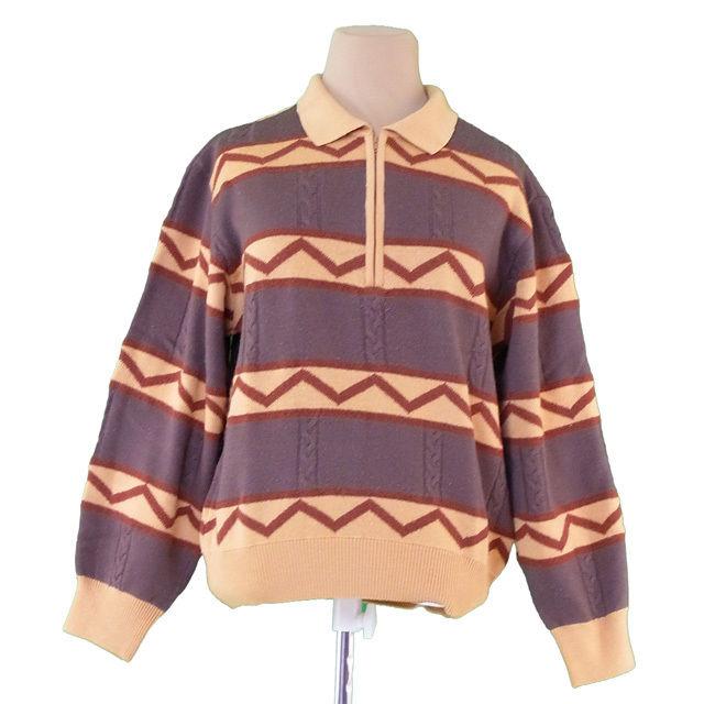 【中古】 ディオール Dior ニット 長袖 セーター レディース メンズ 可 ♯Lサイズ 柄入り スポーツライン ベージュ×ブラウン ウール毛90%ナイロン10% 良品 T1936
