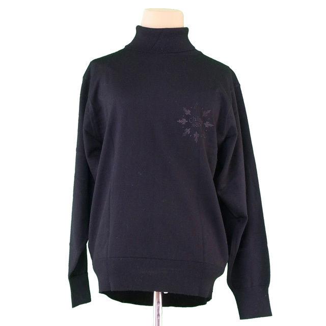 【中古】 クロエ Chloe ニット 長袖 セーター レディース ♯11サイズ ゴルフライン タートルネック ブラック ウール羊毛100% 美品 T1937 .