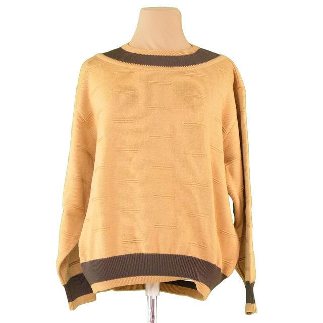 【中古】 ディオール Dior ニット 長袖 セーター レディース メンズ 可 ♯Mサイズ ボートネック ベージュ×ブラウン ウール毛100% T1940