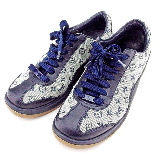 【中古】 ルイ ヴィトン Louis Vuitton スニーカー シューズ 靴 レディース ♯35ハーフ ローカット モノグラムミニ ホワイト×ネイビー系 キャンバス×レザー 美品 廃盤レア T2007 .