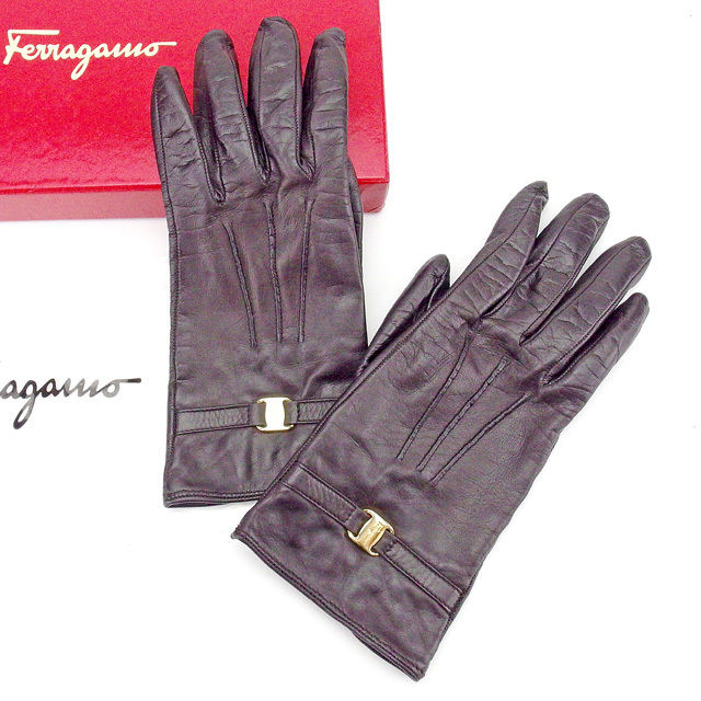 【中古】 サルヴァトーレ フェラガモ Salvatore Ferragamo 手袋 グローブ レディース ヴァラ金具 ダークブラウン×ゴールド レザー(裏地)シルクSILK/100% 美品 T2035 .