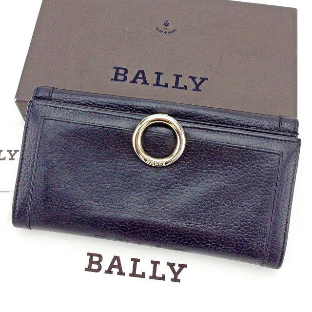 【中古】 バリー BALLY 長財布 財布 Wホック財布 レディース メンズ 可 ロゴリング ブラック×ゴールド レザー 美品 T2053 .
