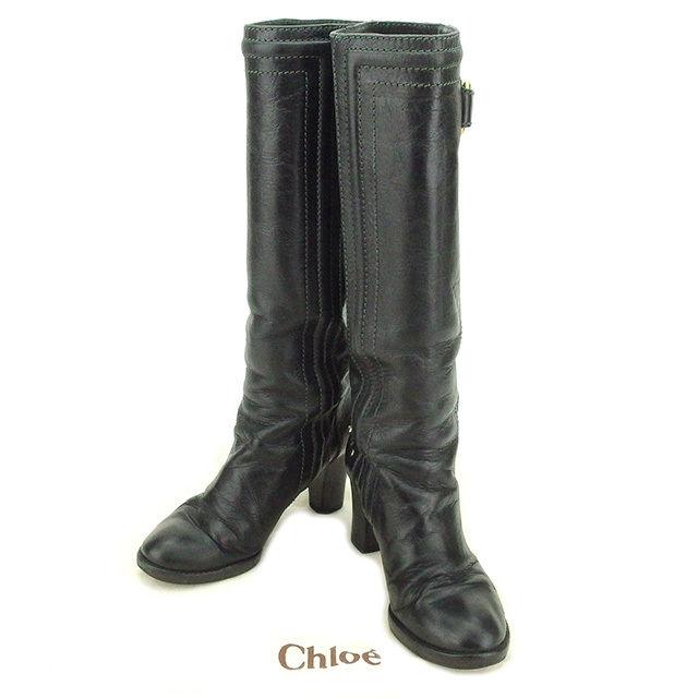 【中古】 クロエ Chloe ブーツ #36 レディース ブラック×ゴールド レザー 人気 T2138
