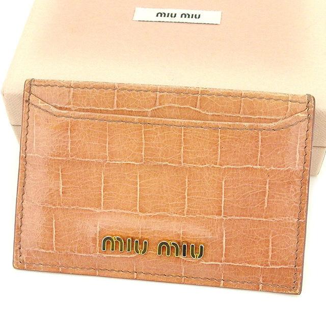 【中古】 ミュウミュウ miu miu カードケース 名刺入れ レディース ピンク PVC×レザー T2167 .