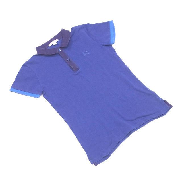 【中古】 バーバリー チルドレン BURBERRY CHILDREN ポロシャツ 半袖 子供 ボーイズ ♯12Y-152キッズサイズ ブルー×パープル コットン綿100% T2210 .