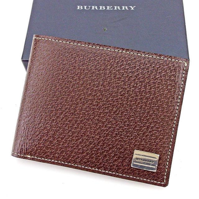 【中古】 バーバリー BURBERRY 二つ折り財布 財布 レディース メンズ 可 ロゴプレート ブラウン×シルバー レザー 中古 【未使用】 T2225