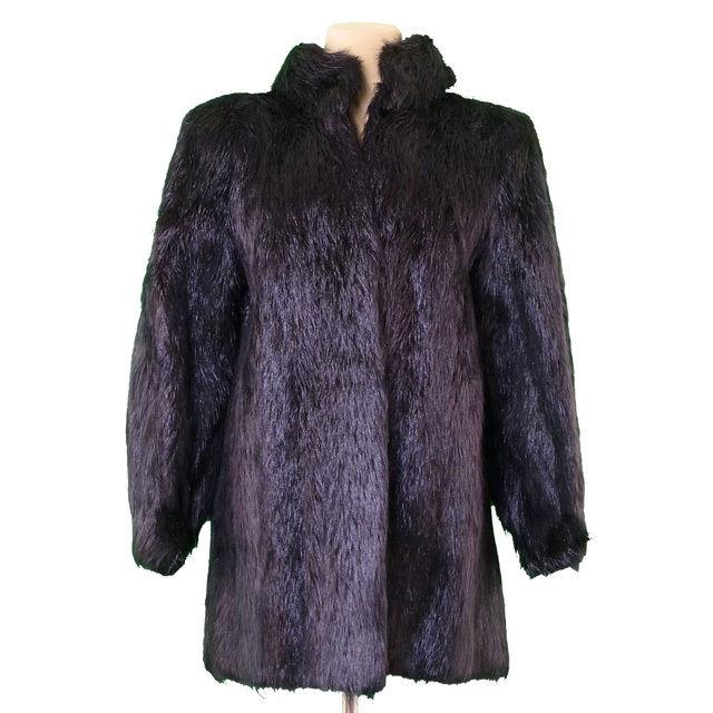 【中古】 サンローラン SAINT LAURENT コート 前開き レディース 毛皮 ファー ブラック 毛皮 良品 T2270