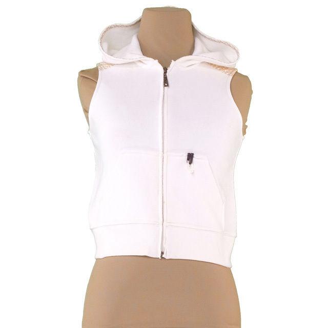 【中古】 ディオール Dior ベスト フード付き 大人可 子供 ♯12Aキッズサイズ ジップアップ ホワイト×ベージュ コットンC/90%PM/10%(別布)C/100% 人気 T2291