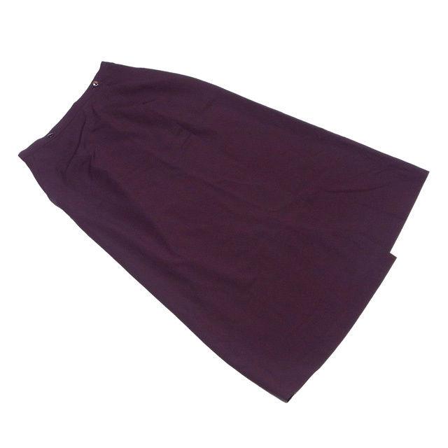 【中古】 ディオール Dior スカート フレアー レディース ♯9サイズ ラップ ロング ブラウン ウール毛100% 美品 T2292
