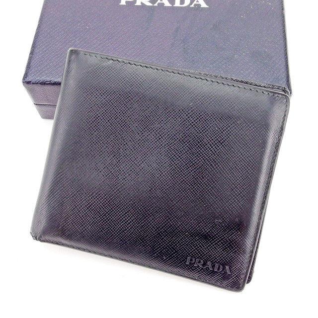 【中古】 プラダ PRADA 二つ折り財布 財布 レディース メンズ 可 ロゴ ブラック系 サフィアーノレザー 人気 T2301