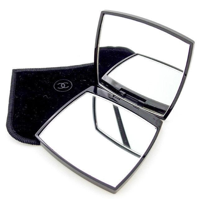 【中古】 シャネル CHANEL ミラー 鏡 ケース付き レディース メンズ 可 ココマーク入り ブラック×ホワイト プラスチック T2308