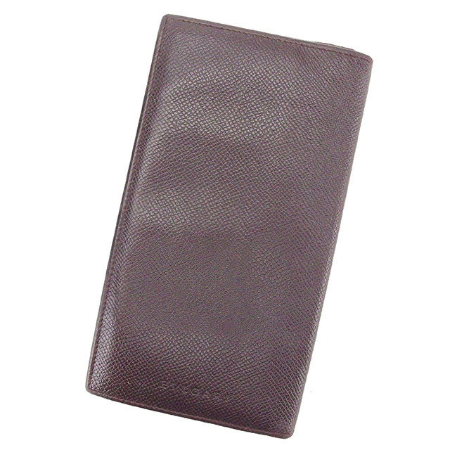 【中古】 ブルガリ BVLGARI 長札入れ 長財布 レディース メンズ 可 ブラウン レザー T2347
