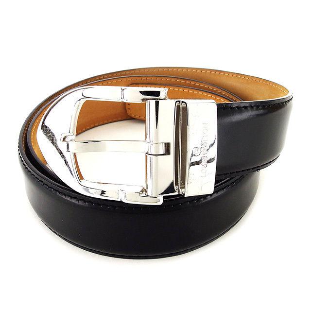 【中古】 ルイ ヴィトン LOUIS VUITTON ベルト レディース メンズ 可 サンチュールクラシック ブラック×シルバー レザー×シルバー素材 人気 T2359 .