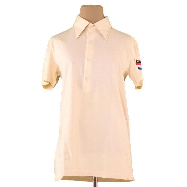 【中古】 ドルチェ&ガッバーナ DOLCE&GABBANA ポロシャツ 半袖 カットソー メンズ ♯46サイズ オランダ国旗マーク ベージュ系 人気 T2430 .