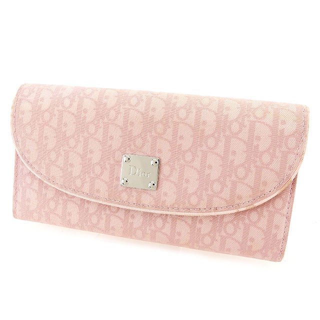 【中古】 ディオール Dior 長財布 ファスナー付き 財布 レディース トロッター ピンク キャンバス×レザー 人気 T2461