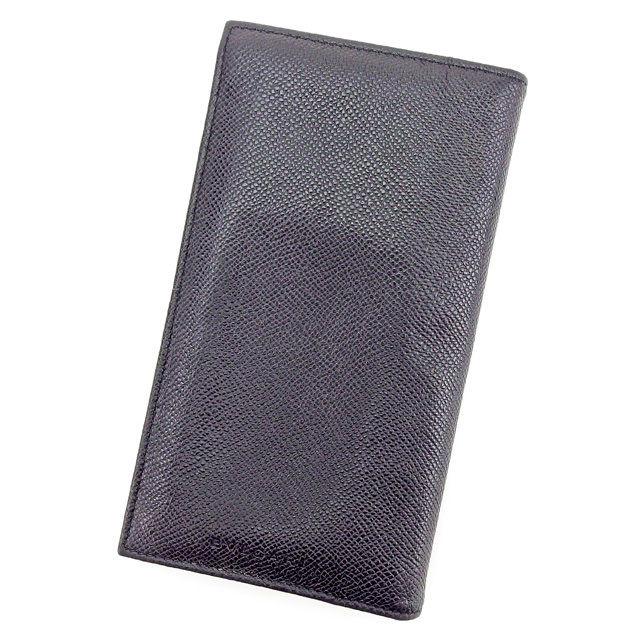 【中古】 ブルガリ BVLGARI 長財布 財布 ファスナー付き長財布 メンズ ロゴ ブラック×シルバー レザー 美品 T2507 .